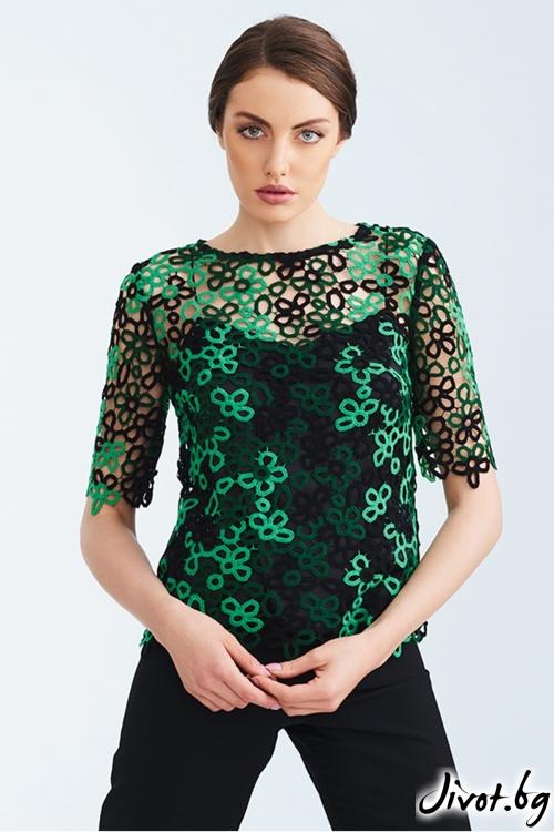 Дантелена блуза в зелено и черно / Lila Style House