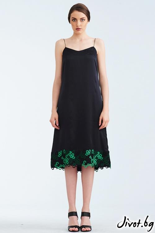 Черна копринена рокля със зелена дантела / Lila Style House