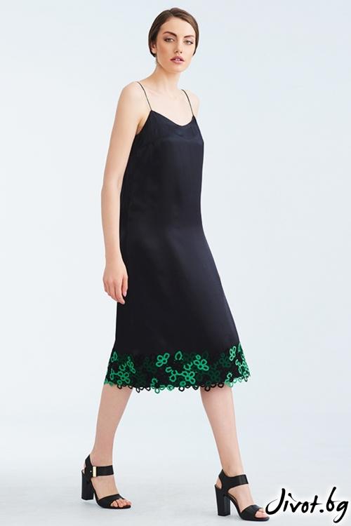 Черен копринен комбинезон със зелена дантела / Lila Style House
