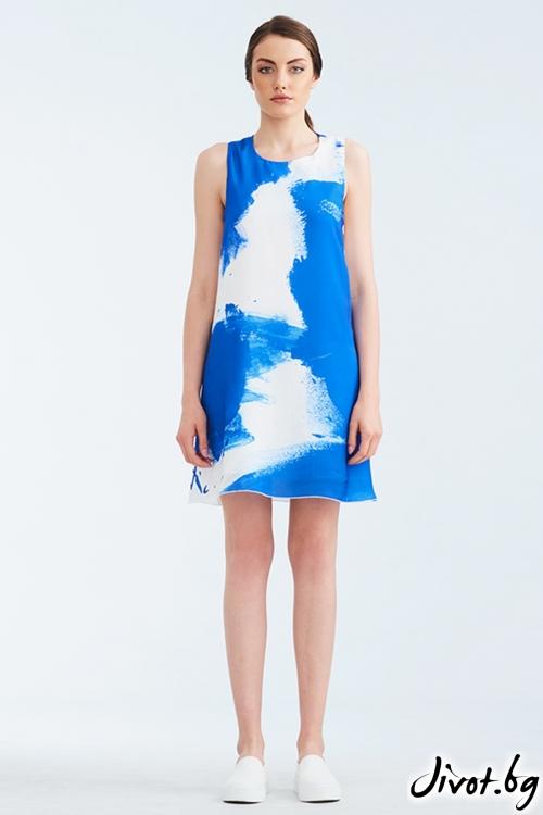 Бяла копринена рокля със син принт / Lila Style House