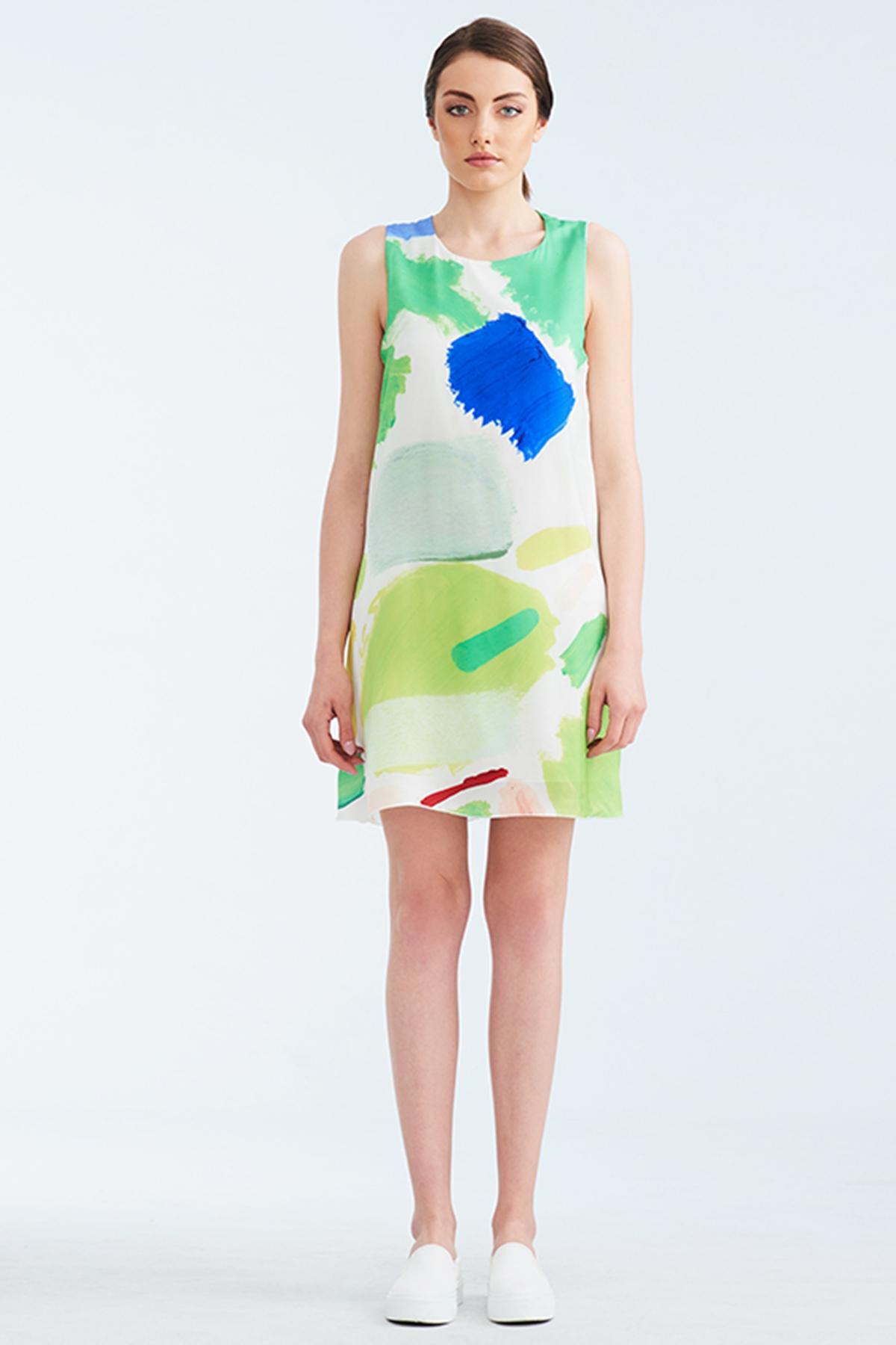 Бяла копринена рокля със зелен принт / Lila Style House