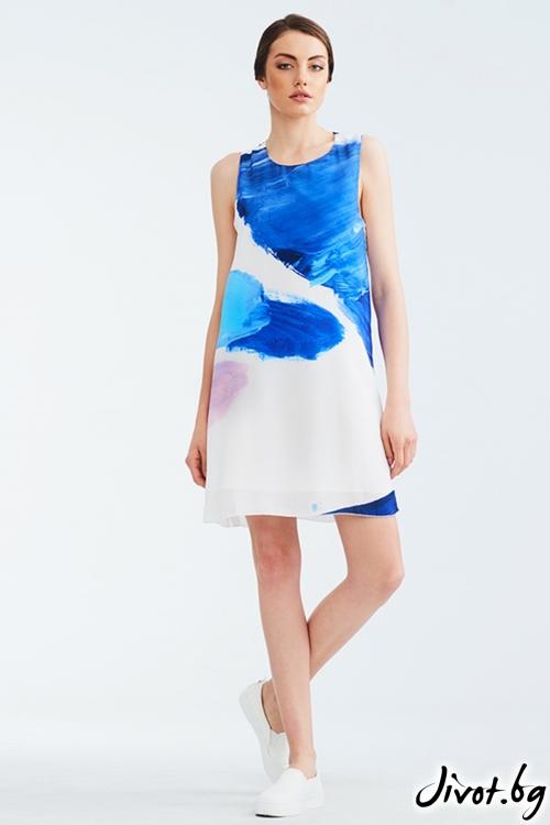 Бяла копринена рокля с многоцветен принт / Lila Style House