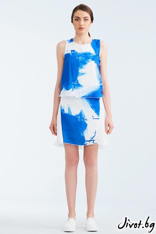 Бял копринен топ със син принт / Lila Style House