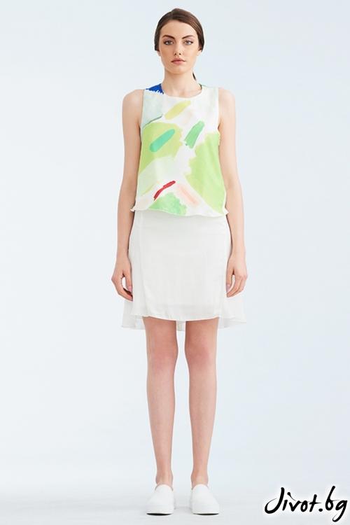 Бял копринен топ с зелен принт / Lila Style House