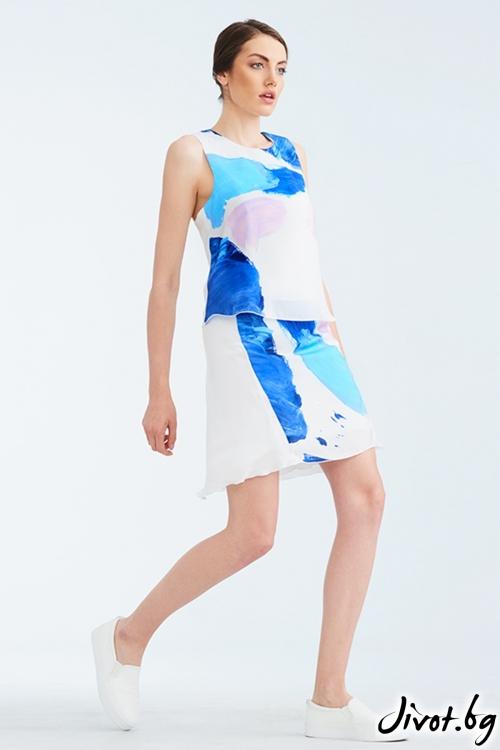 Бял копринен топ с многоцветен принт / Lila Style House