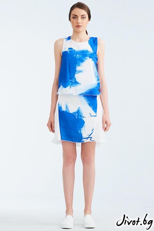 Бяла копринена пола със син принт / Lila Style House