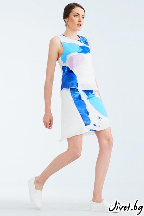 Бяла копринена пола с многоцветен принт / Lila Style House