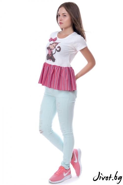 Дамска блуза с принт Маймуна / MY MAGENTA