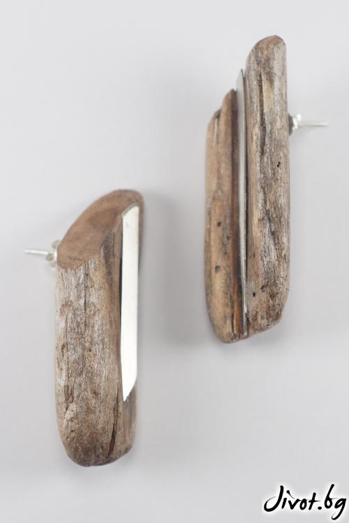 """Красиви обеци от парченца натурално дърво """"Two from one"""" / IR Jewelry"""