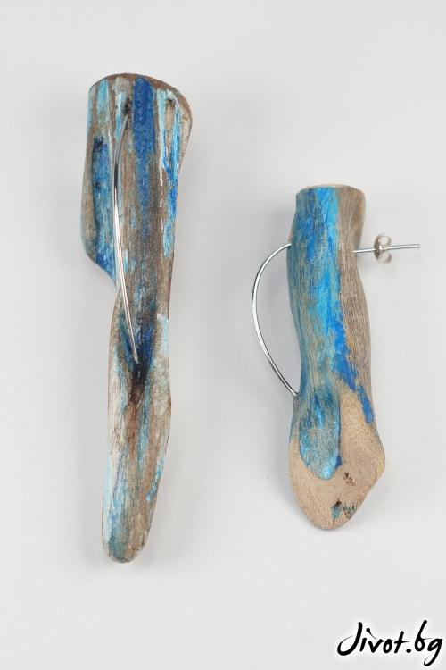 """Обеци от дърво """"Yet again blue"""" / IR Jewelry"""