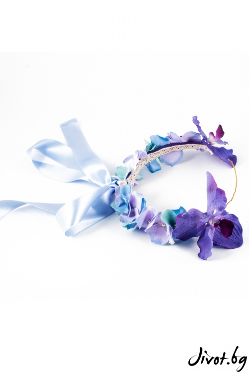 """Луксозен венец за коса с лилави орхидеи """"Valerie"""" / Forget-me-not"""