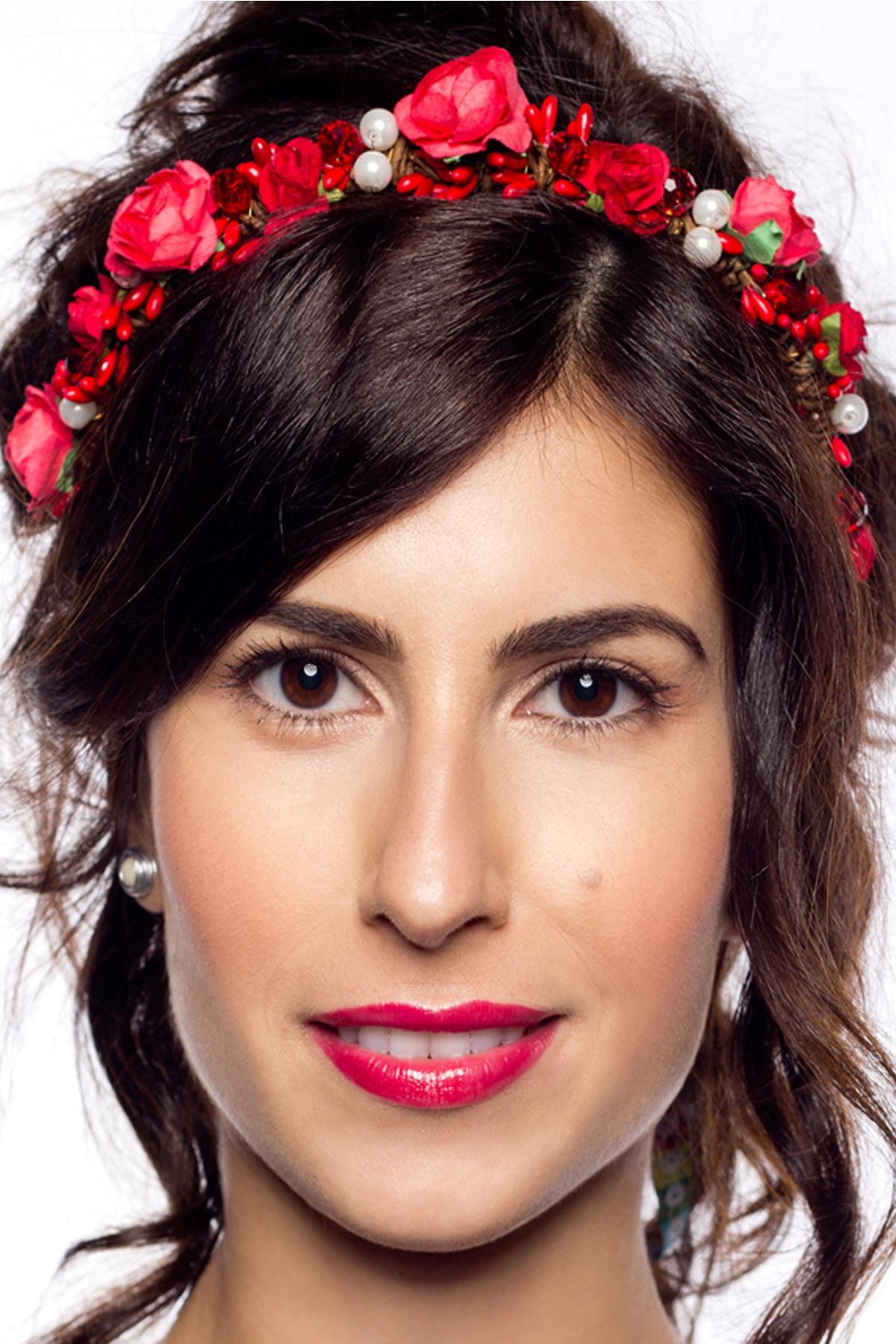 "Уникална диадема с червени цветя ""Carmen"" / Forget-me-not"