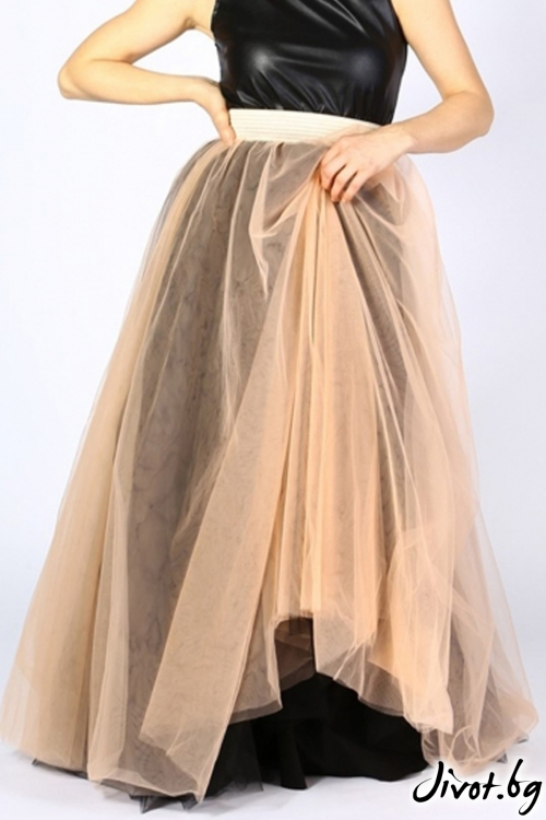Дълга пола от тюл с ластик на талията / VERNE