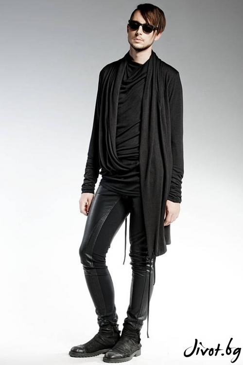 Черна дълга мъжка жилетка / PENDARI