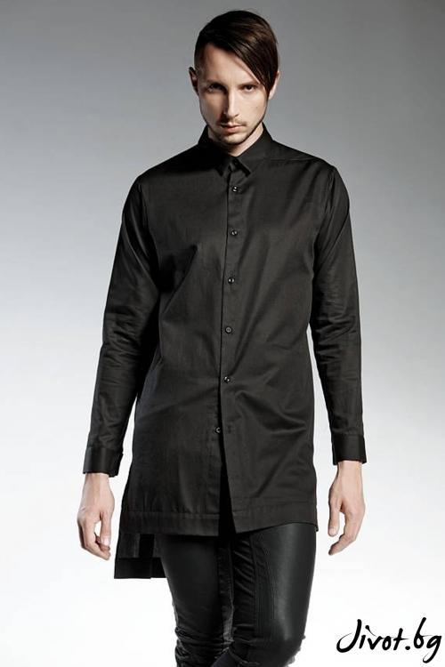 Дълга черна мъжка риза / PENDARI