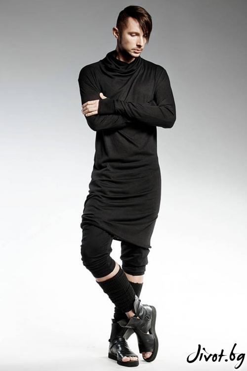 Черна асиметрична мъжка блуза / PENDARI