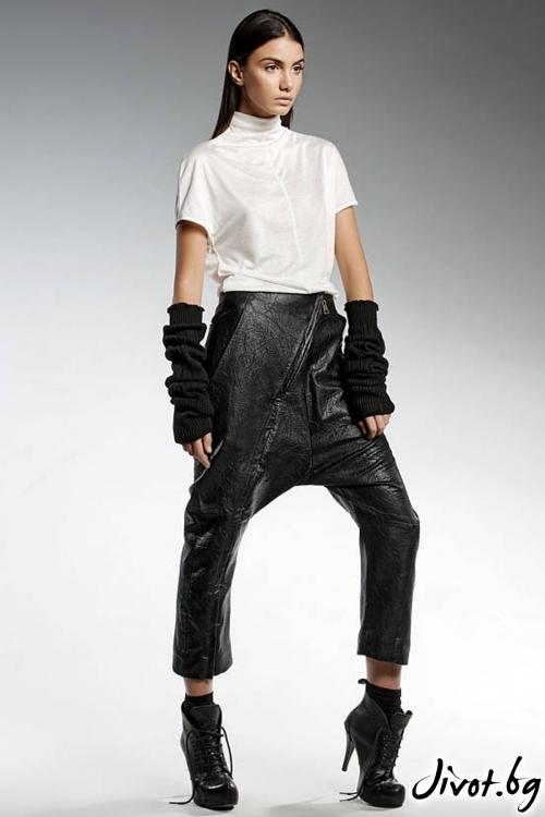 Черен панталон от еко кожа / PENDARI