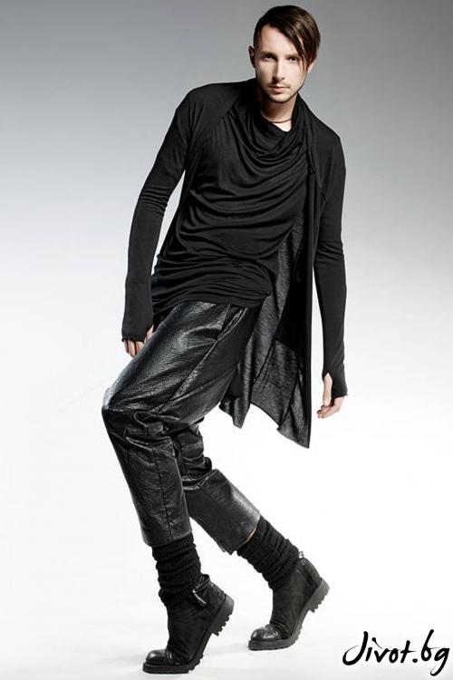 Черна асиметрична мъжка жилетка / PENDARI