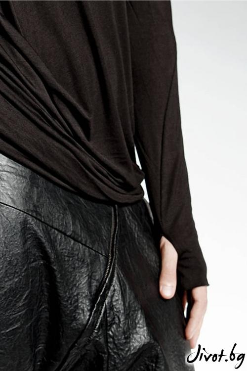 Черна асиметрична блуза / PENDARI