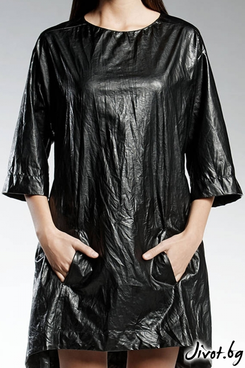 Черна секси рокля от еко кожа / PENDARI