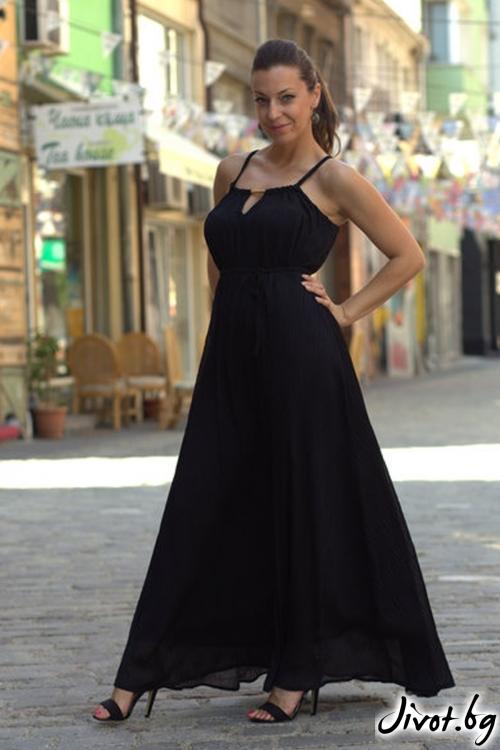 Дълга рокля с намачкан ефект и златист детайл / ALENIA