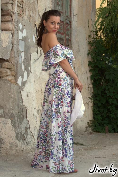 Дълга рокля с голи рамене / ALENIA