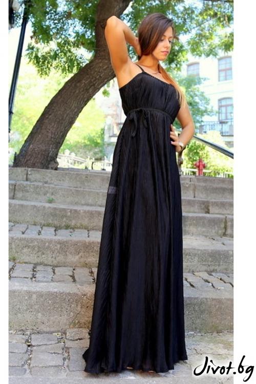 Черна дълга рокля солей / ALENIA
