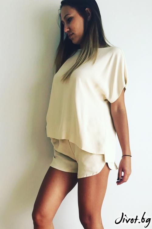 Красив дамски сет тениска и панталонки в цвят екрю / VESTITI