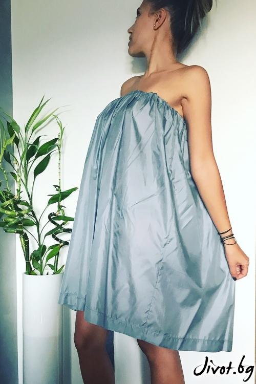 Рокля от коприна в сиво-син цвят / VESTITI