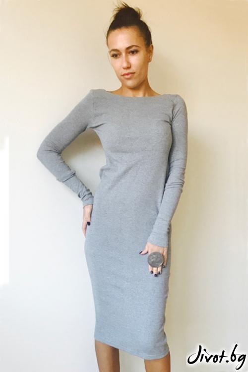 Сива рокля с дълги ръкави / VESTITI