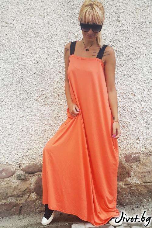 Красива оранжева дамска рокля / Jeni&Migla