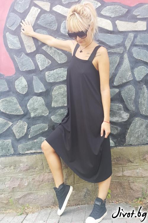 Свободна черна дамска рокля / Jeni&Migla