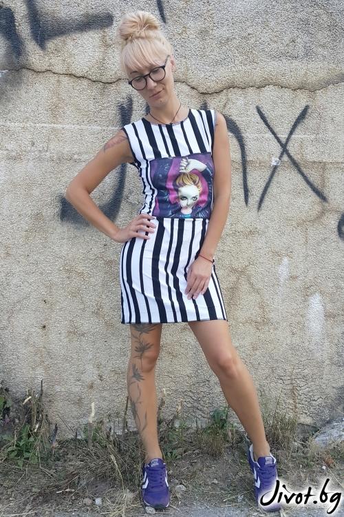 Красива дамска рокля на райета / Jeni&Migla