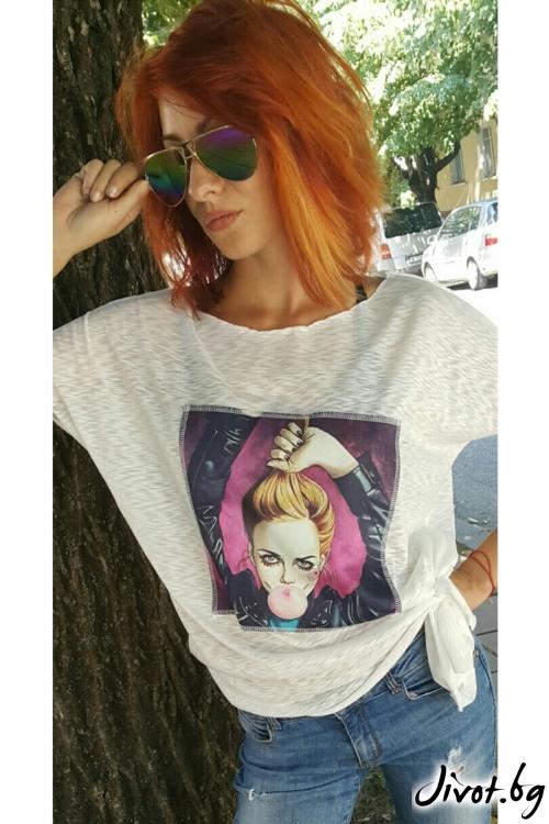 Бяла дамска тениска с принт / Jeni&Migla