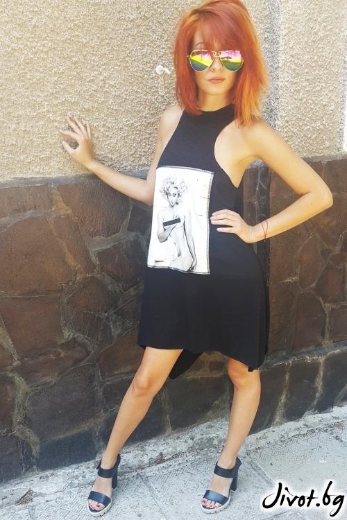 Красива дамска черна рокля с принт / Jeni&Migla