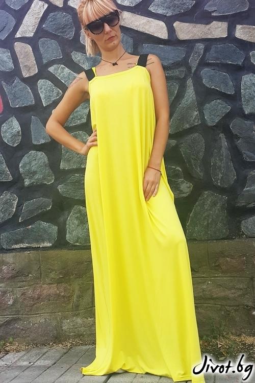 Красива жълта дамска рокля / Jeni&Migla