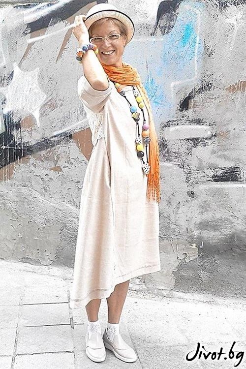 Красива рокля от лен в цвят екрю / Роклите на Нора
