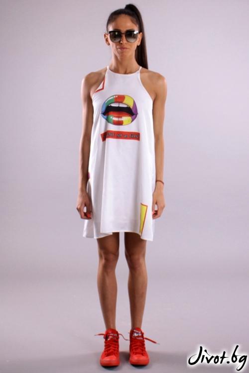 Дамска бяла рокля със свободен силует / Cherry You