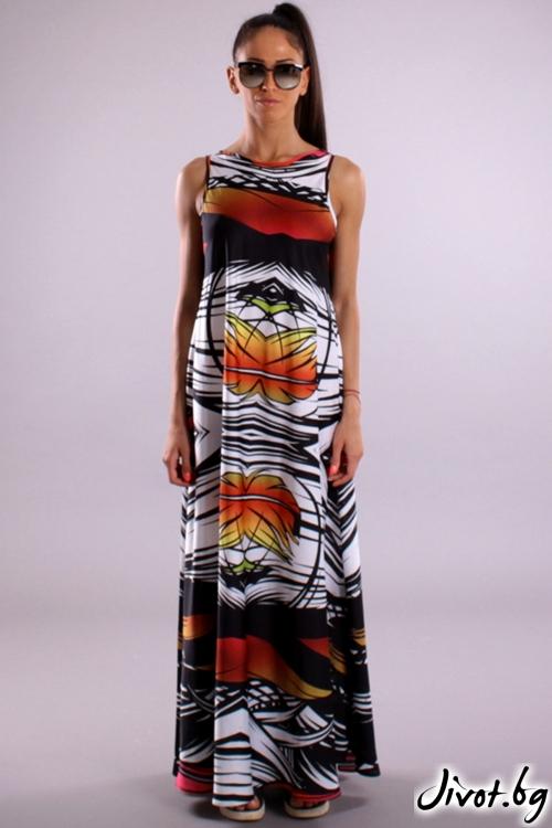 Уникална дълга рокля с принт / Cherry You