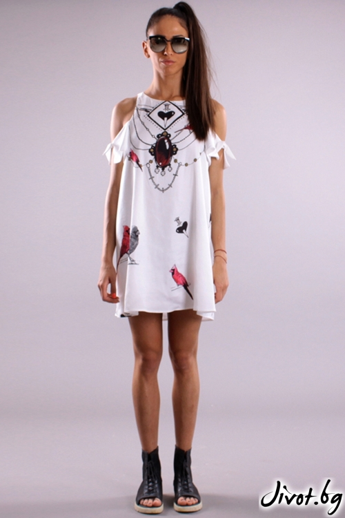 Красива къса рокля със свободен силует и принт папагали / Cherry You