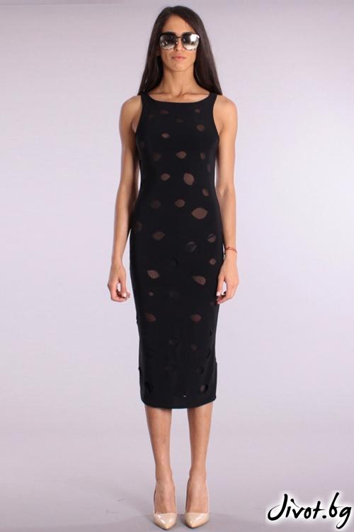 Елегантна рокля по тялото с прозрачни елементи / Cherry You