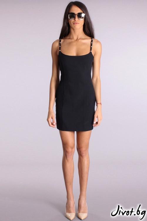 Къса черна рокля с презрамки / Cherry You