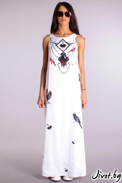 Красива дълга рокля с принт папагали / Cherry You