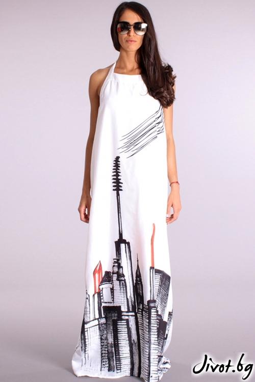 Красива дълга рокля с принт / Cherry You