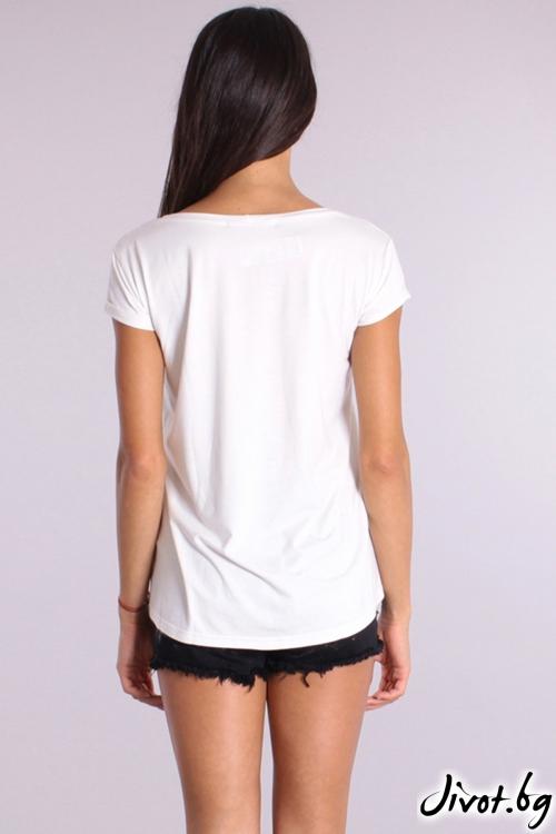 Дамска тениска с пришит сатенен принт / Cherry You