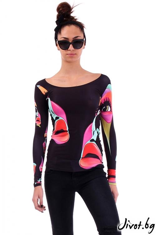 Дамска еластична блуза с цветен принт лица / Cherry You