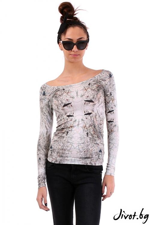 Еластична блуза с абстрактен принт / Cherry You