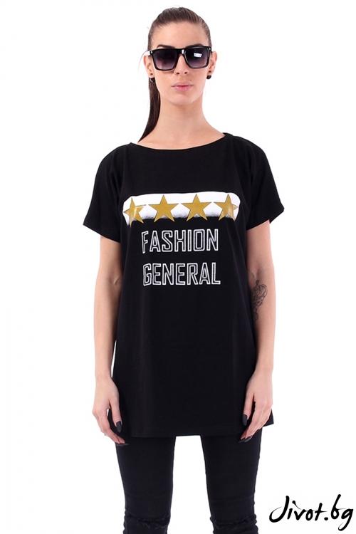 Oversize модел тениска с принт / Cherry You