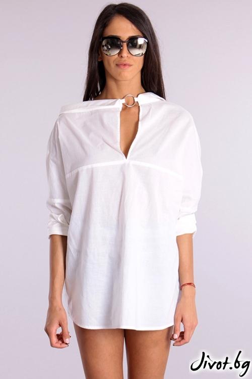 Дамска бяла риза с две лица / Cherry You
