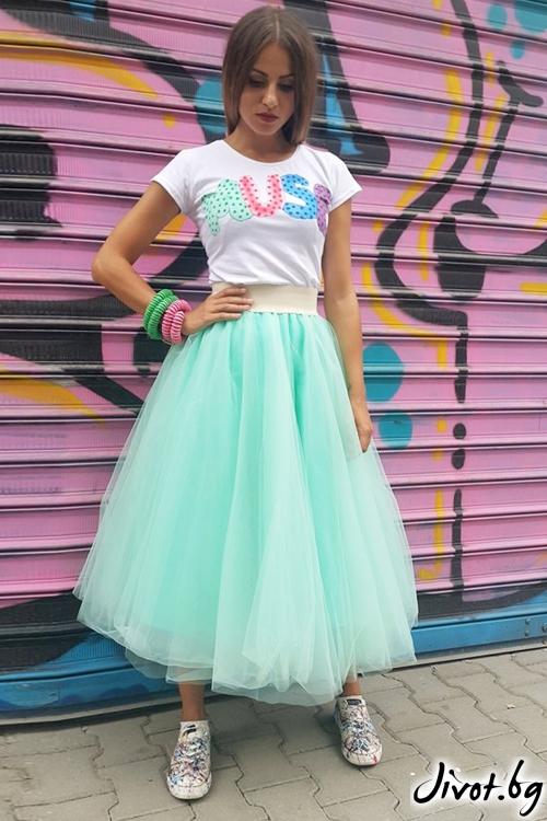 Красива пола от тюл в цвят мента / VERNE